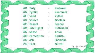 100 Tamil Words (08) - Learn Tamil through English