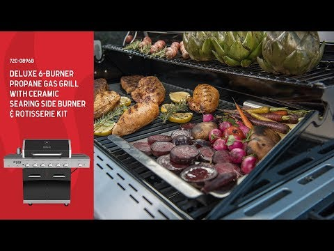 Nexgrill DEluxe 6-Burner Gas Grill w/ Ceramic Searing Side Burner & Rotisserie Kit (720-0896B)