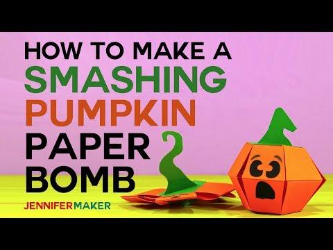 Smashing Pumpkin Paper Bomb - Pop-Up Toy Tutorial & Pattern - Kamikara - パンプキン爆弾