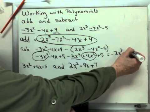 Add and Subtract Polynomials p. 171 (ch. 4)