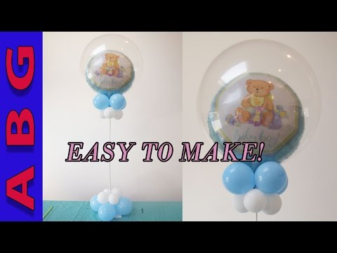 Its a Boy Baby shower Decorations DIY Double Bubble Balloon Centerpiece tutorial idea