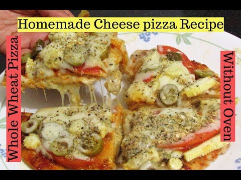 Cheese Burst Pizza with Thin Crust without Oven-Whole wheat Cheese Pizza-Domino's Style