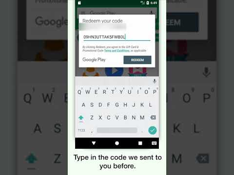 Use redeem code in Google Play Store