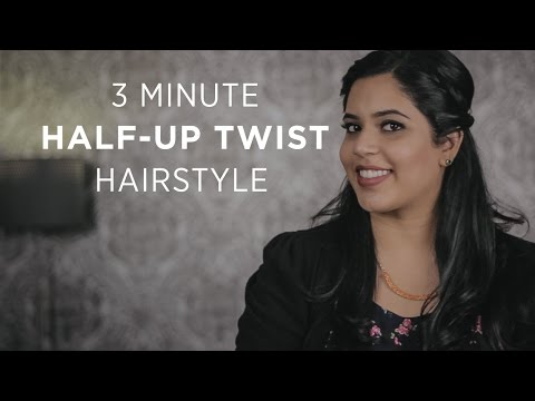 Quick 3 Minute Half-Up Twist Hairstyle (For Short, Medium and Long Hair)