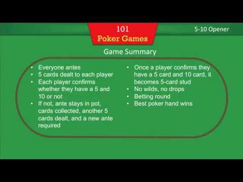 101 Poker Games - Instructions for Texas Holdem, 5-Card Stud, and 5-10 Opener