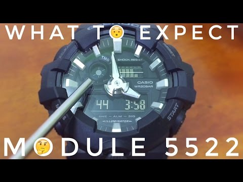 Casio G-Shock MODULE 5522 Tutorial   All Black GA-700 Big Case watch