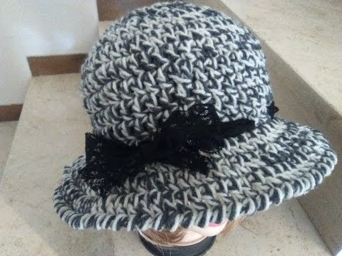CROCHET CLOCHE HAT with brim tutorial   english version