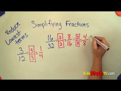 How to simplify fractions to the lowest terms math video