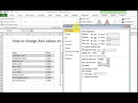 Changing Axis values on an Excel chart