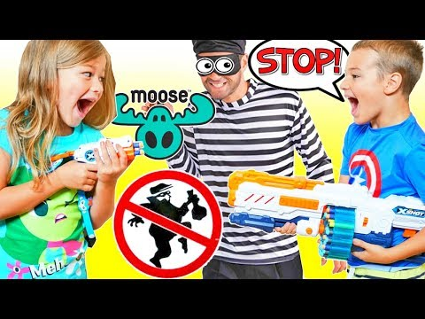 Robber Steals Toys from Kids ZURU X-Shot Defends Ton of Fun from Burglar! STOP THIEF!!