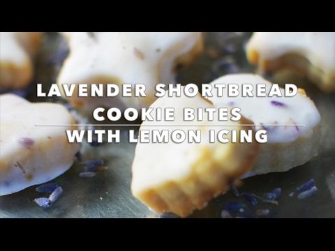 Lavender Shortbread Cookie Bites with Lemon Icing