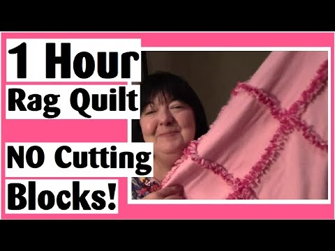 1 Hour Rag Quilt - NO Cutting Blocks - Easy Quilt Tutorial
