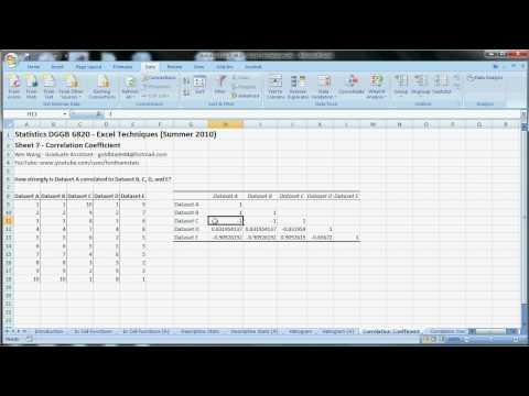 Excel Techniques - 06 - Correlation Coefficient.avi