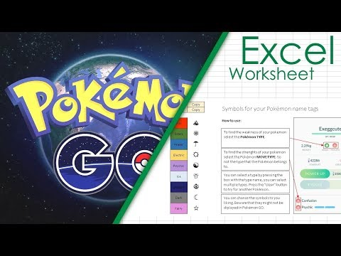 Symbol Name Tag Generator for Pokemon GO Excel Sheet | Spreadsheet Download
