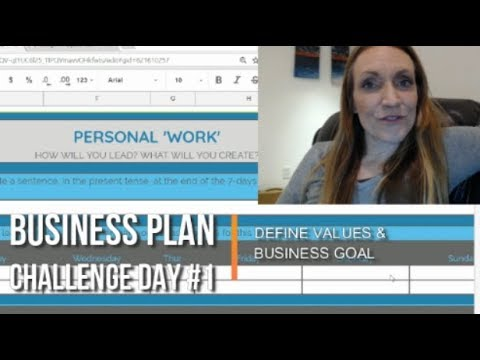 Write Your Business Plan Challenge: Day #1 Defines Values & Goal