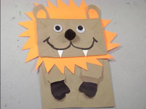 🌟How to make a Puppet Lion with Grocery recycled bag - Easy Paper Craft - simplekidscrafts