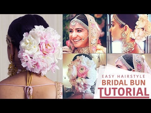 Anushka Sharma Wedding Hairstyle | Step by Step Floral Bun Hairstyle Tutorial Video | Indian Brides