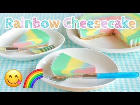 NO BAKE Rainbow Soymilk Cheesecake (appetizing pastel color) 豆乳レインボーチーズケーキ - OCHIKERON