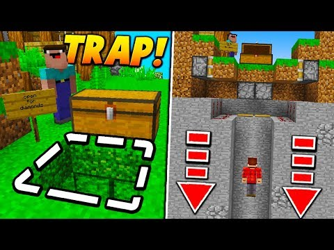 TRAPPED CHEST PISTON FALL TRAP! - Minecraft SKYWARS TROLLING (FAKE CHEST!)