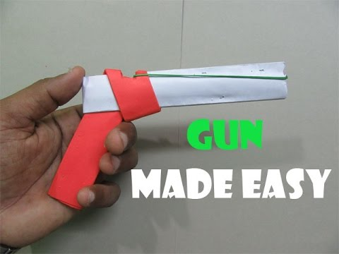 How to Make a Paper gun that shoots rubber bands( With Trigger) - Easy Tutorials