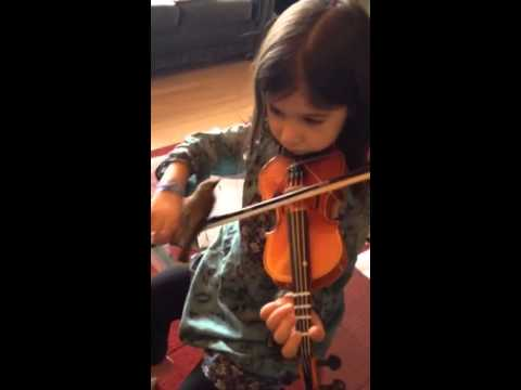 Emily plays her violin for the wax wing.
