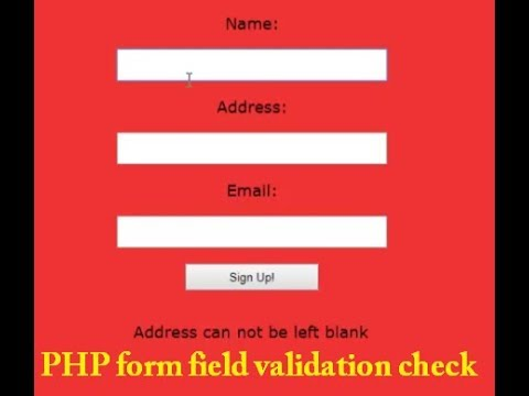 PHP form field validation check