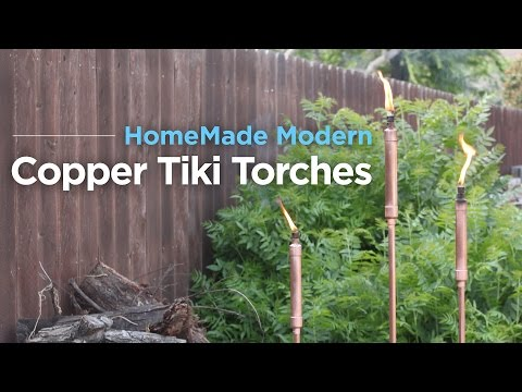 DIY Copper Tiki Torches anchored with Fast Setting Concrete
