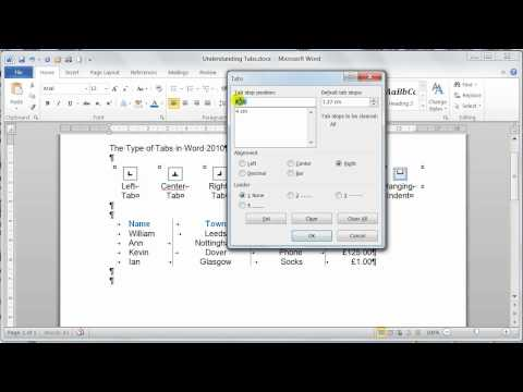Microsoft Word 2010 Paragraph formatting Understanding and Setting Tabs  - Tutorial 14
