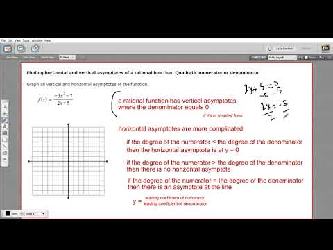 Finding the asymptotes of a rational function - quadratic numerator or denominator