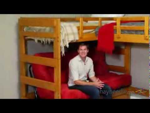 Woodcrest Heartland Futon Bunk Bed with Extra Loft Bed - Product Review Video