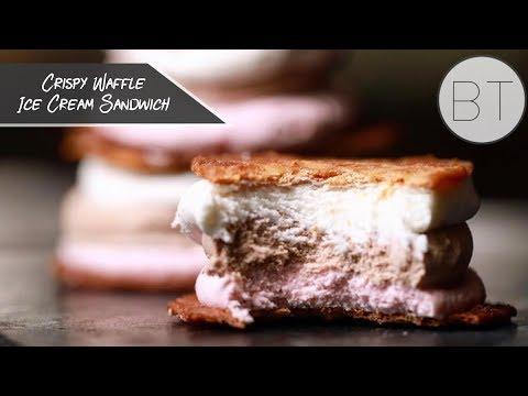 Crispy Waffle Ice Cream Sandwich