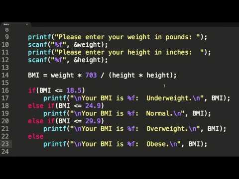 Programming in C:  Calculate BMI
