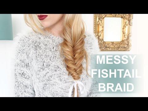 EASY Messy Fishtail Braid For Short + Long Hair!!!