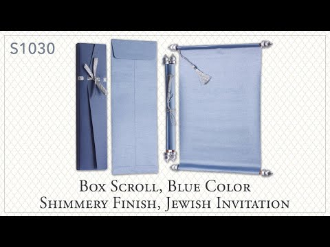 S1030, Blue Color, Shimmery Finish Paper, Scroll Invitations, Jewish Invitations, Wedding Scrolls