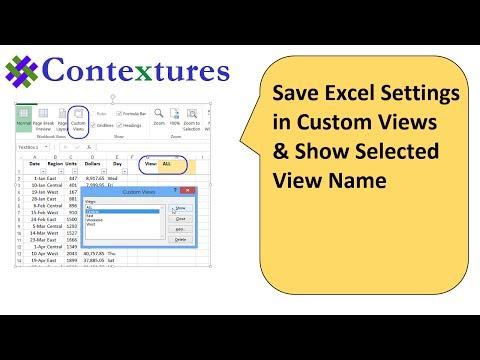 Save Excel Settings in Custom Views