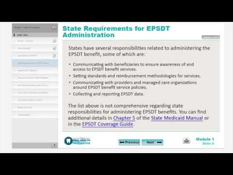 Module 1: Overview of the Early and Period Screening, Diagnostic, and Treatment (EPSDT) Benefit