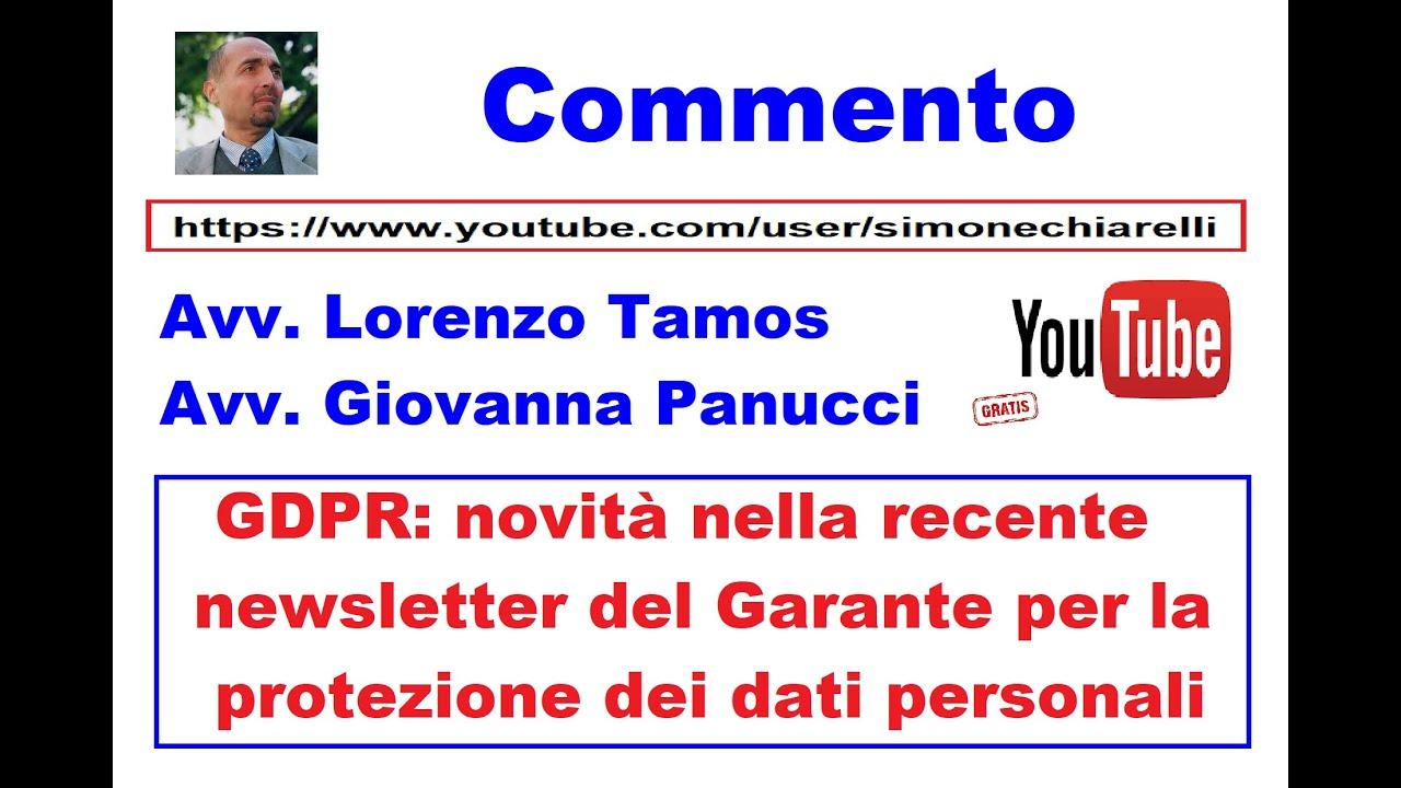GDPR: commento degli avv.ti Tamos e Panucci alla newsletter del Garante (21/02/2021)