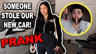 """""""SOMEONE STOLE OUR CAR"""" PRANK ON GIRLFRIEND (SHE GOT MAD)"""