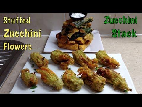 Stuffed Zucchini Flowers with crisp zucchini stack side cheekyricho