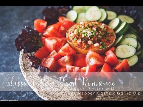 RECIPE: Red Pepper Cashew Garlic Dip + Veg