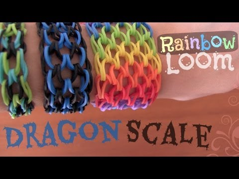 RAINBOW LOOM : Dragon Scale Cuff Bracelet - How To | SoCraftastic