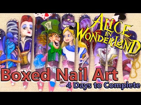 Boxed Nail Art Tutorial - Alice in Wonderland -  Hand Painted & 3D Acrylic - Mixed Media Art