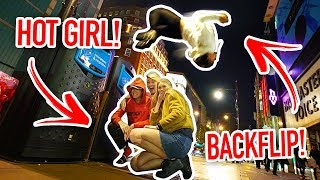 BACK FLIPPING OVER HOT GIRLS IN PUBLIC!! (Don