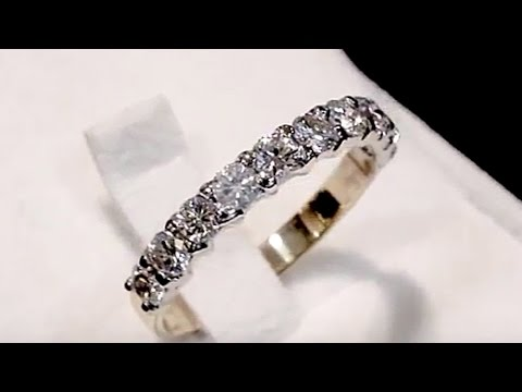 1.24 ct Diamond and 18 ct Yellow Gold Half Eternity Ring - Vintage Circa 1990