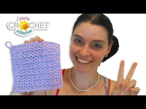 Crochet V-Stitch HDC Pattern - Easy Dishcloth DIY Tutorial