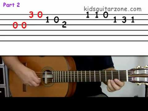Guitar lesson 4A : Beginner -- 'Happy Birthday' on three strings