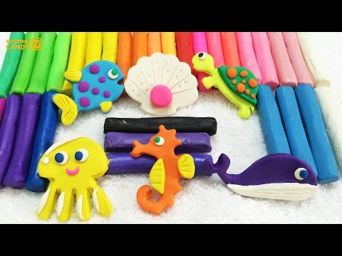 Plasticine Modelling Clay and Learn The name of Animals Under Water World Fun and Creative