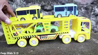 Car transporter for kids carrying toy cars I Mainan truk trailer mengangkut  mobil dan Bus tayo 5745d348e2