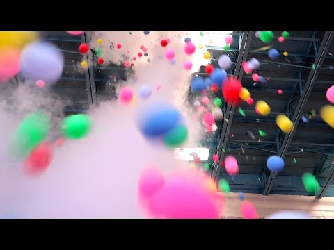 1000 Rainbow Ping Pong Ball and Liquid Nitrogen Science Experiment