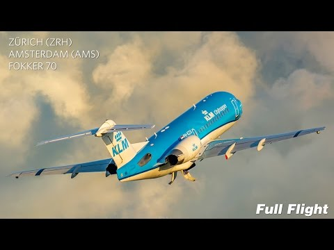 KLM Full Flight | Zurich to Amsterdam | Fokker 70 **With ATC**